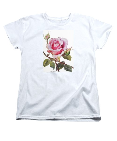 Pink Rose Grace Women's T-Shirt (Standard Cut) by Greta Corens