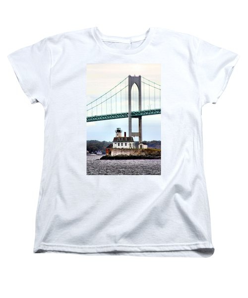 Rose Island Lighthouse Women's T-Shirt (Standard Cut) by Kristin Elmquist
