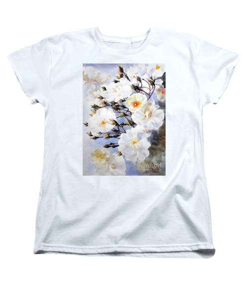 Rose Tchaikowsky A Stem Of White Roses And Buds Women's T-Shirt (Standard Cut) by Greta Corens