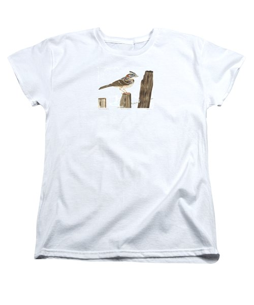Rufous-collared Sparrow Women's T-Shirt (Standard Cut) by Cindy Hitchcock