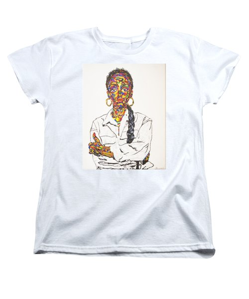 Women's T-Shirt (Standard Cut) featuring the painting Abstract Sade  by Stormm Bradshaw