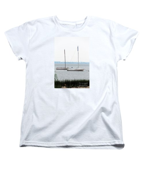 Sailboats In Battery Park Harbor Women's T-Shirt (Standard Cut) by David Jackson