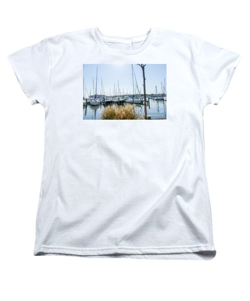 Women's T-Shirt (Standard Cut) featuring the photograph Sailboats On Back Creek by Charles Kraus