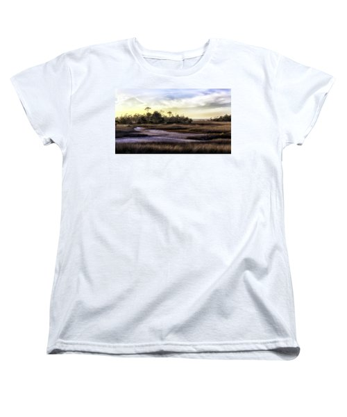 Saint Marks Wetland Sunset Women's T-Shirt (Standard Cut) by Lynn Palmer