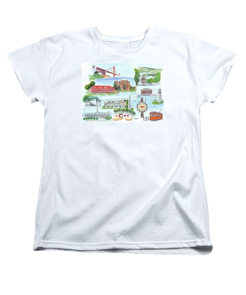 San Francisco Highlights Montage Women's T-Shirt (Standard Cut) by Mike Robles