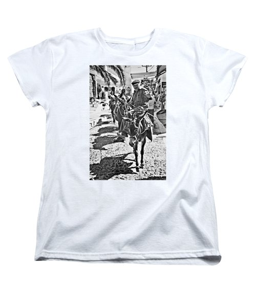 Santorini Donkey Train. Women's T-Shirt (Standard Cut) by Meirion Matthias