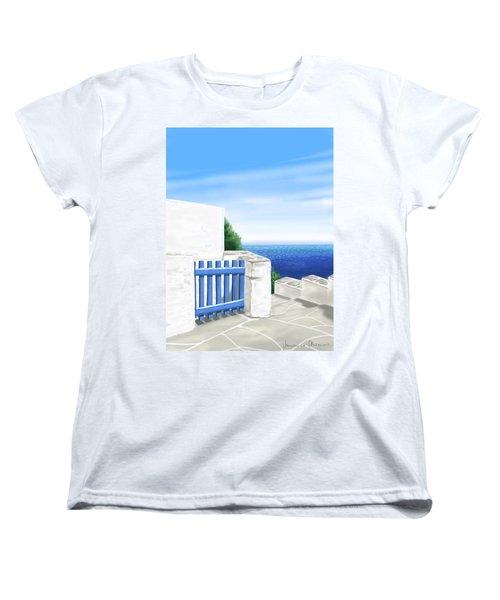 Santorini Women's T-Shirt (Standard Cut) by Veronica Minozzi