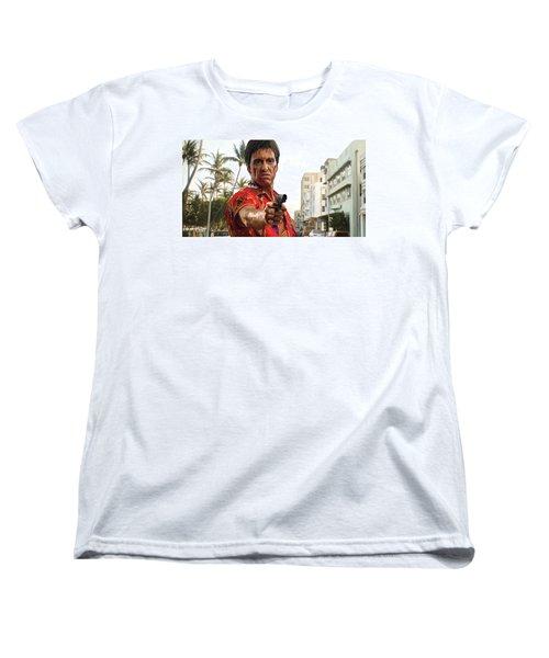 Women's T-Shirt (Standard Cut) featuring the painting Scarface Artwork 2 by Sheraz A