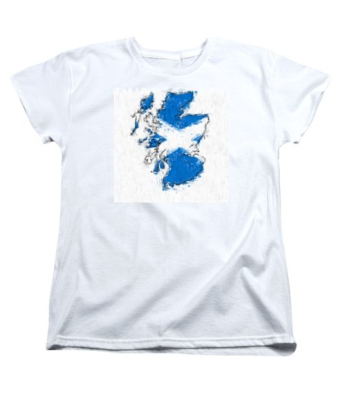 Scotland Painted Flag Map Women's T-Shirt (Standard Cut) by Antony McAulay