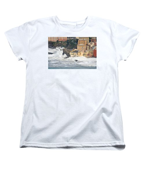 Women's T-Shirt (Standard Cut) featuring the photograph Sea Storm In Camogli - Italy by Antonio Scarpi