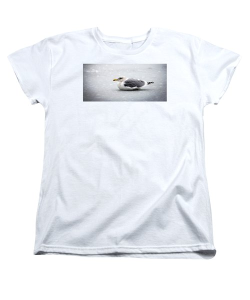 Women's T-Shirt (Standard Cut) featuring the photograph Seagull On Ice by Aaron Berg