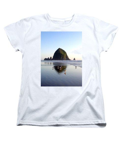Seagulls And A Surfer Women's T-Shirt (Standard Cut) by Will Borden
