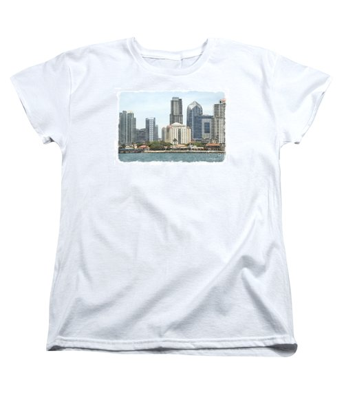 Seaport Village And Downtown San Diego Watercolor Women's T-Shirt (Standard Cut) by Claudia Ellis