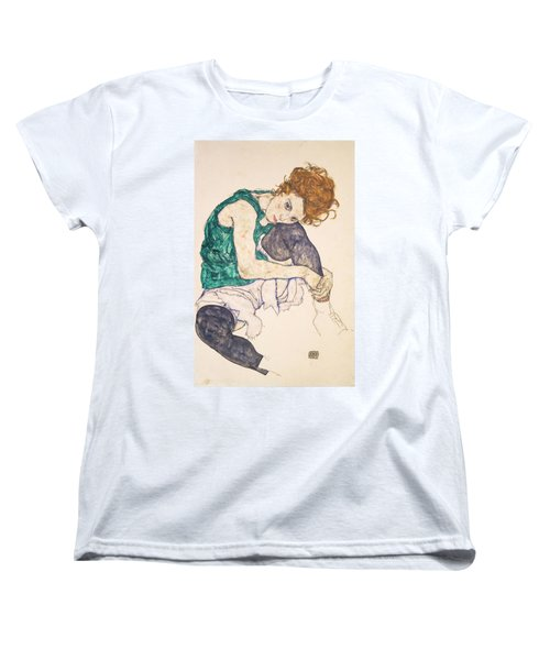 Seated Woman With Legs Drawn Up. Adele Herms Women's T-Shirt (Standard Cut)