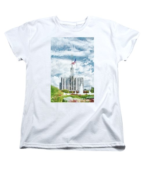 Women's T-Shirt (Standard Cut) featuring the painting Seattle Temple 1 by Greg Collins