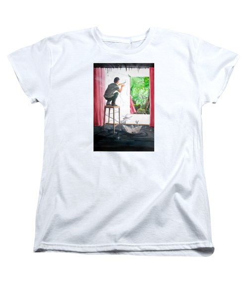 Shaping The Peace Listen With Music Of The Description Box Women's T-Shirt (Standard Cut) by Lazaro Hurtado