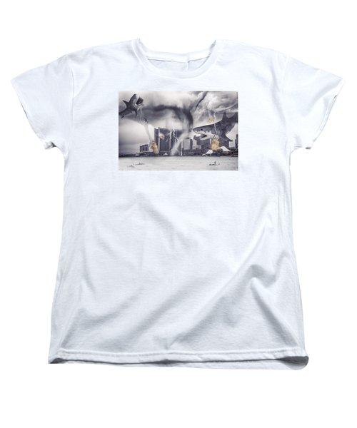 Women's T-Shirt (Standard Cut) featuring the photograph Sharknado Detroit by Nicholas  Grunas