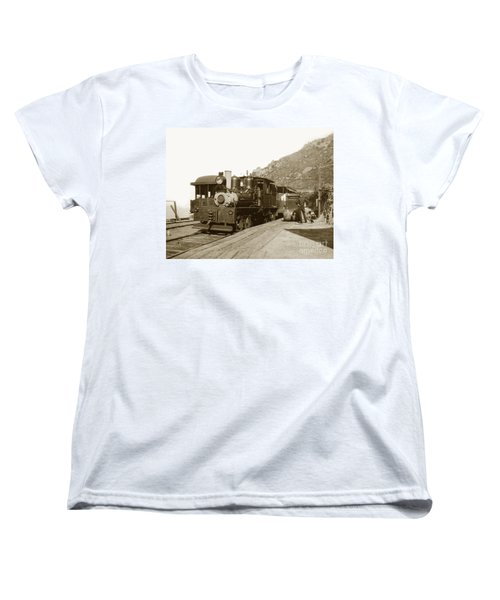 Women's T-Shirt (Standard Cut) featuring the photograph Shay No. 498 At The Summit Of Mt. Tamalpais Marin Co California Circa 1902 by California Views Mr Pat Hathaway Archives