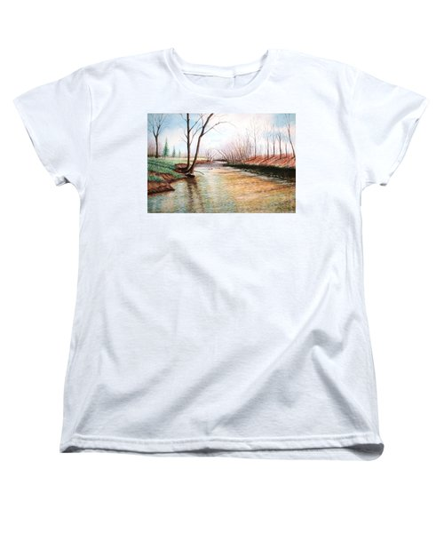 Women's T-Shirt (Standard Cut) featuring the pastel Shelby Stream by Stacy C Bottoms