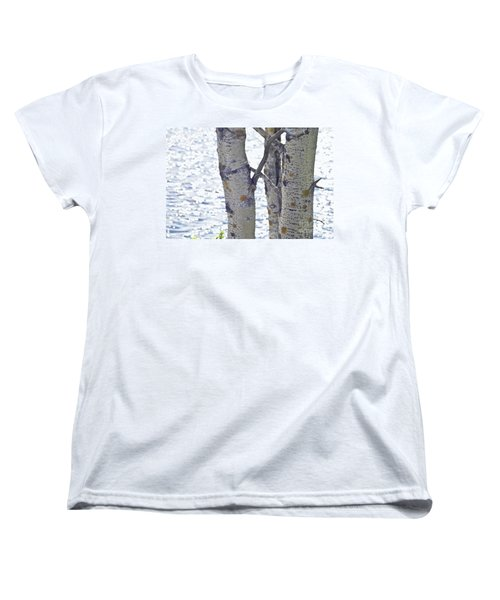 Silver Birch Trees At A Sunny Lake Women's T-Shirt (Standard Cut) by Heiko Koehrer-Wagner