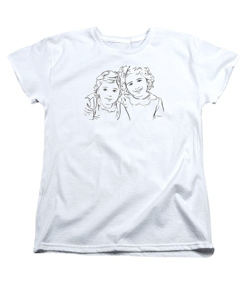 Women's T-Shirt (Standard Cut) featuring the drawing Sisters Forever by Olimpia - Hinamatsuri Barbu