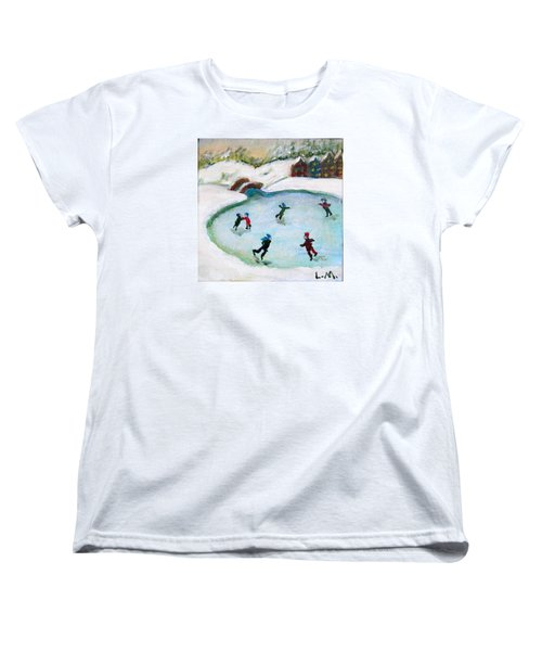 Skating Pond Women's T-Shirt (Standard Cut) by Laurie Morgan