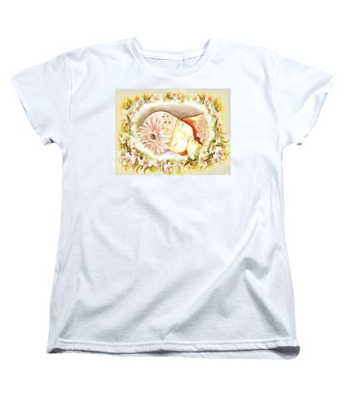 Women's T-Shirt (Standard Cut) featuring the painting Sleeping Baby Vintage Dreams by Irina Sztukowski
