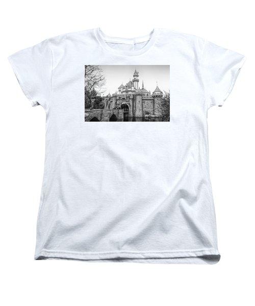 Sleeping Beauty Castle Disneyland Side View Bw Women's T-Shirt (Standard Cut) by Thomas Woolworth