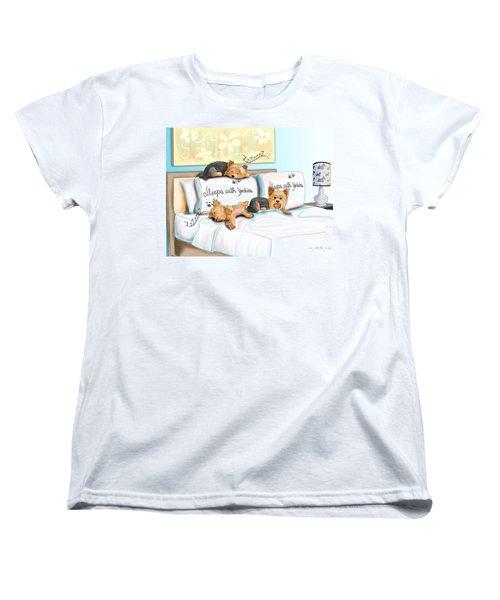 Sleeps With Yorkies Women's T-Shirt (Standard Cut) by Catia Cho
