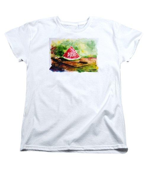 Sliced Watermelon Women's T-Shirt (Standard Cut) by Zaira Dzhaubaeva