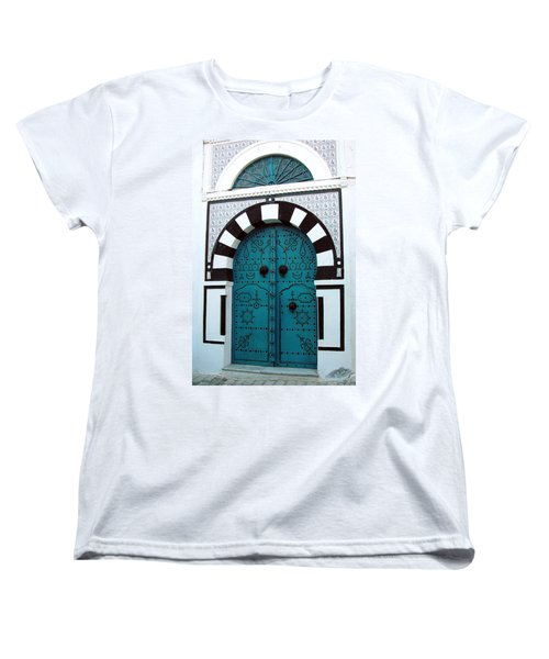 Smiling Moon Door Women's T-Shirt (Standard Cut) by Donna Corless