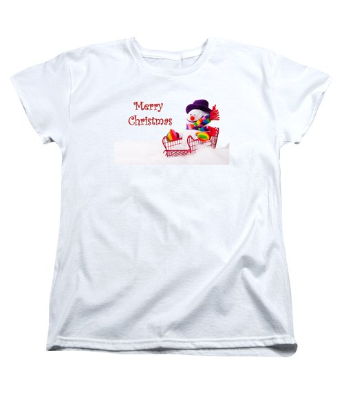 Women's T-Shirt (Standard Cut) featuring the photograph Snowman Riding In A Red Sleigh - Christmas  by Vizual Studio