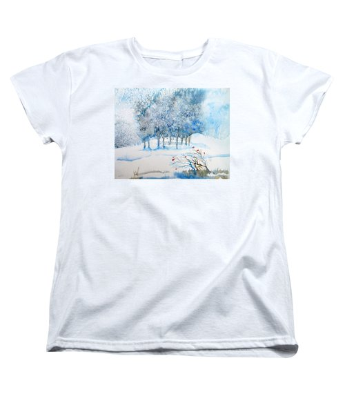 Snow Blizzard In The Grove  Women's T-Shirt (Standard Cut) by Trudi Doyle
