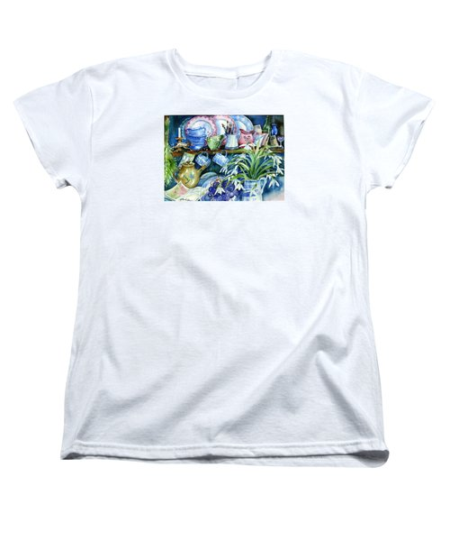 Women's T-Shirt (Standard Cut) featuring the painting Snowdrops On A Kitchen Dresser by Trudi Doyle