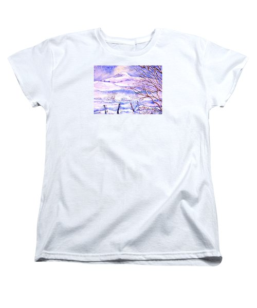 Women's T-Shirt (Standard Cut) featuring the painting Snowfall On Eagle Hill Hacketstown Ireland  by Trudi Doyle