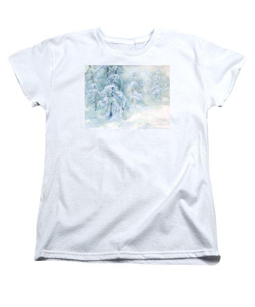 Women's T-Shirt (Standard Cut) featuring the painting Snowstorm by Joy Nichols