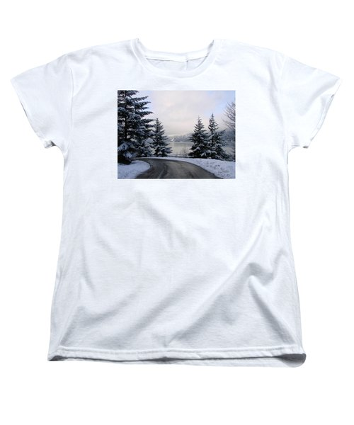Women's T-Shirt (Standard Cut) featuring the photograph Snowy Gorge by Athena Mckinzie