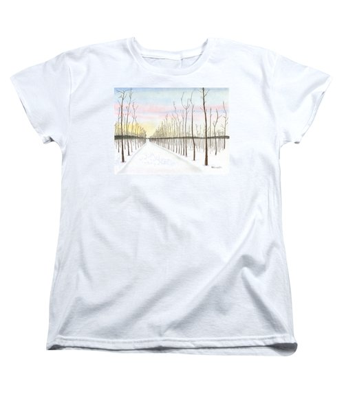 Women's T-Shirt (Standard Cut) featuring the drawing Snowy Lane by Arlene Crafton