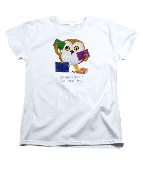 Women's T-Shirt (Standard Cut) featuring the painting So Many Books So Little Time by Leena Pekkalainen