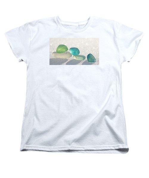 Sparkling Sea Glass Friends Women's T-Shirt (Standard Cut) by Barbara McMahon
