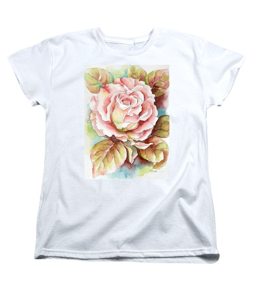 Women's T-Shirt (Standard Cut) featuring the painting Spring Rose by Inese Poga