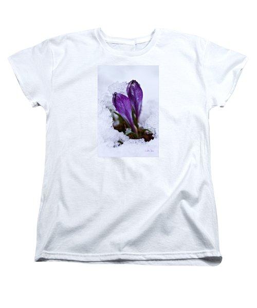 Women's T-Shirt (Standard Cut) featuring the photograph Spring Snow by Joan Davis