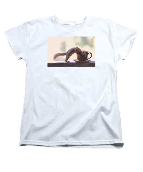 Squirrel And Coffee Women's T-Shirt (Standard Cut) by Peggy Collins