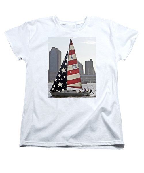 Women's T-Shirt (Standard Cut) featuring the photograph Star Spangled Sail  by Lilliana Mendez
