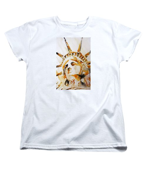 Statue Of Liberty Closeup Women's T-Shirt (Standard Cut) by J- J- Espinoza