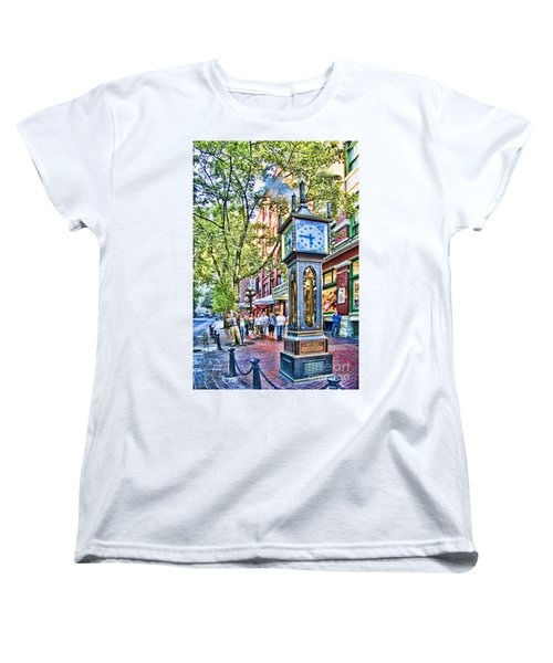 Steam Clock In Vancouver Gastown Women's T-Shirt (Standard Cut) by David Smith