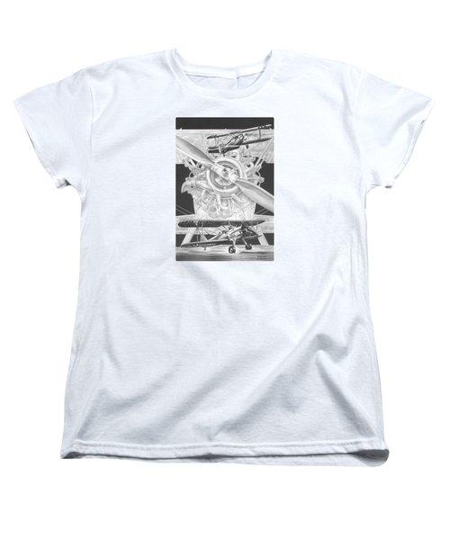 Stearman - Vintage Biplane Aviation Art Women's T-Shirt (Standard Cut) by Kelli Swan