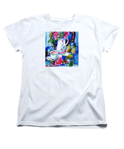 Women's T-Shirt (Standard Cut) featuring the painting Still Life With Roses  by Trudi Doyle