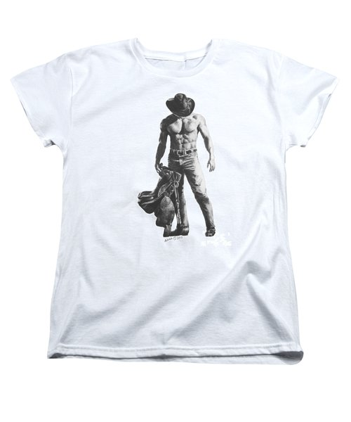 Women's T-Shirt (Standard Cut) featuring the drawing Strength Of A Cowboy by Marianne NANA Betts