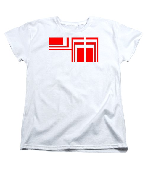 Women's T-Shirt (Standard Cut) featuring the digital art Study In White And Red by Cletis Stump